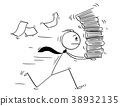 Cartoon of Businessman Running with High Pile of 38932135