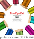 Thread Spool Banner Circle Border. Place For Text 38932764