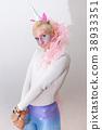 Pink cute sexy girl unicorn on white background 38933351