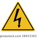 high voltage triangular warning sign on white. 38933363