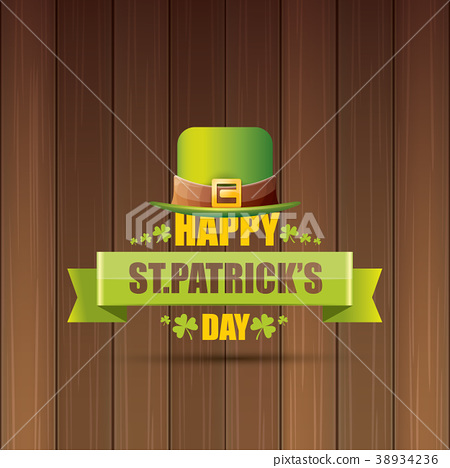 saint patricks day label or poster with green hat 38934236