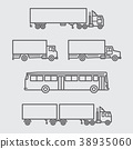Truck and Bus of side view line icon 38935060