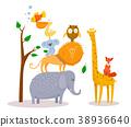 elephant, lion, cartoon 38936640