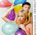 pretty real family with color balloons on white 38938027