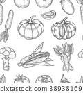 Vegetable seamless pattern. 38938169