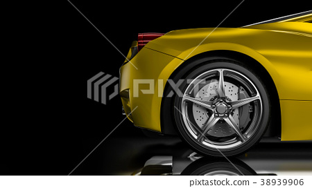 Dark car silhouette 3D illustration 38939906