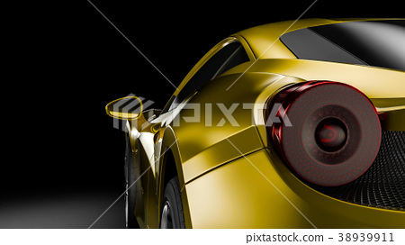 Dark car silhouette 3D illustration 38939911