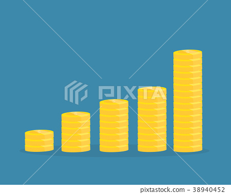 Piles of coins.Financial growth up concept 38940452