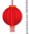 Red  lantern paper cut design on white background. 38940464