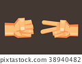 Rock-paper-scissors vector cartoon hand design. 38940482