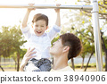 father with son training on pull-up bar 38940906