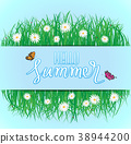 Butterfly flying above the grass with flowers 38944200
