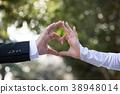 손으로 만든 하트 웨딩 신부 결혼 38948014