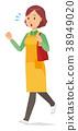 穿圍裙的中年主婦跑與袋子 38949020