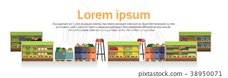 Modern Super Market Shelves Isolated Retail Store 38950071