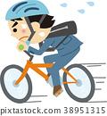 일러스트 소재 서둘러 자전거 출퇴근 38951315