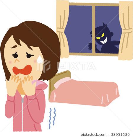 Illustration material Woman living alone stalker 38951580