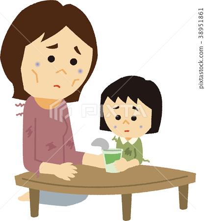 일러스트 소재 미혼모의 빈곤 38951861
