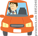 Illustration material Driving while using smartphone 38952040