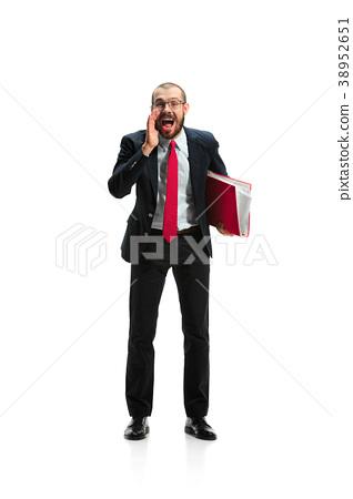 Do not miss. Young casual man shouting. Shout 38952651