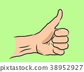 Hand drawn thumb up on green 38952927