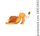 사자, 사냥꾼, 벡터 38953602