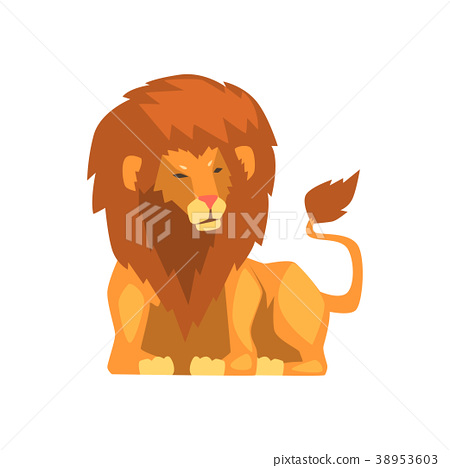 Powerful lion lying, wild predatory animal vector 38953603