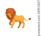 사자, 사냥꾼, 벡터 38953607