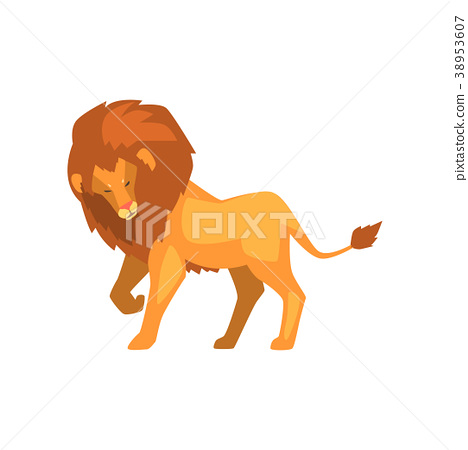 Formidable lion, wild predatory animal side view 38953607