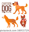 Cartoon Dog Set Vector. Funny Puppy Beasts. Happy 38953729