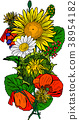 bouquet of poppies, sunflowers, chamomiles 38954182