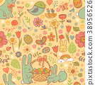 Cute Easter seamless pattern 38956526