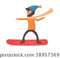snowboarder, vector, illustration 38957369