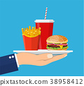 Waiter serving a hamburger french fries and soda 38958412
