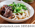 Japanese Udon noodles with beef 38958444