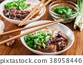 Japanese Udon noodles with beef 38958446