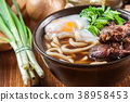 Japanese Udon noodles with beef 38958453