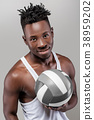 African-American man with volleyball 38959202