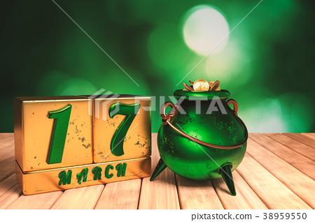 block calendar 17 March for St Patrick's Day 38959550