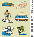 Surf badge and wave, palm tree and ocean. tropics 38959951
