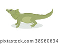 Lizard Cartoon Icon in Flat Design 38960634