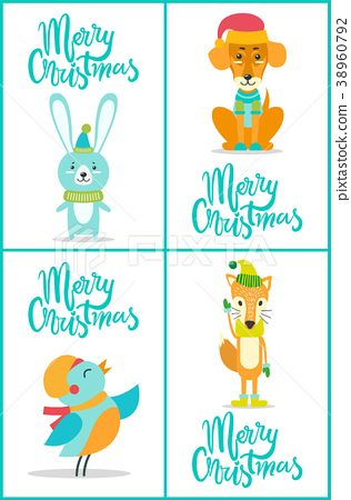 Merry Christmas Animals.Merry Christmas Animals On Vector Illustration Stock Illustration