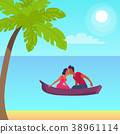 Summer Love Banner with Kissing Couple in Boat 38961114