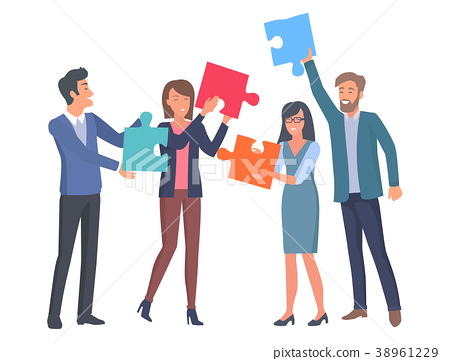 Coworkers with Big Puzzle Parts in Hands 38961229