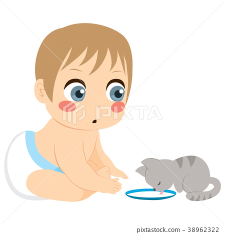 Baby And Cat Milk - Stock Illustration [38962322] - PIXTA