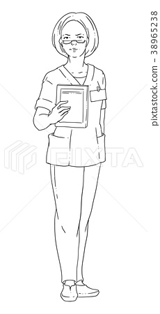 Vector illustration of a female doctor wearing 38965238