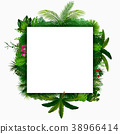 Tropical leaves background. Square tropical frame  38966414