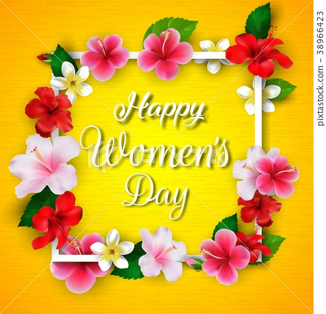 International Happy Women's Day 8 March floral gre 38966423