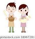 가사 분담하는 부부 식사 준비 세탁 38967281