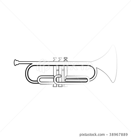 Isolated cornet outline. Musical instrument 38967889